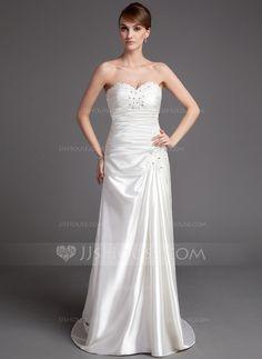 Corte A/Princesa Escote corazón Tren de la corte Charmeuse Vestido de novia con Bordado.