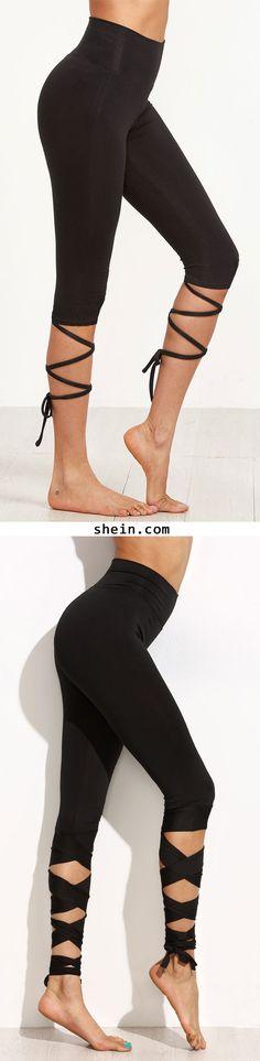 Black Crop Leggings With Crisscross Wrap Detail. More colors alternative!
