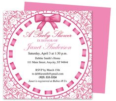Baby Shower Invitations : Chelsea Pink Printable Shower Invitation Templates