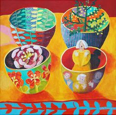 cate edwards  4bowls on yellow--  this would look so good in my kitchen