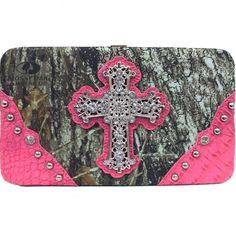 Mossy Oak Camo Bling Rhinestone Cross Flat Wallet Pink Orange Black Brown Green