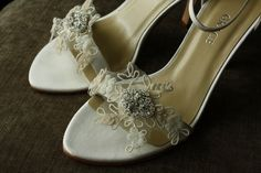 Bridal Shoe Clips, Vintage French Lace