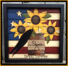 This is a quick and easy pattern with sunflowers, a flag, a crow and a rusty old tin can with a burlap ribbon painted on a pallet sign. Pattern comes complete with line drawings and detailed instructions. Flag Painting, Love Painting, Painting Flowers, Painted Rocks, Hand Painted, Painted Plates, Tole Painting Patterns, Paint Patterns, Patriotic Decorations