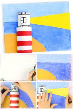 Canvas Lighthouse Art for Kids - Lighthouse Crafts for Kids using toilet paper rolls. Perfect summer art and craft idea for kids to make. Easy painting for beginners. art Lighthouse Art for Kids Summer Arts And Crafts, Creative Arts And Crafts, Crafts For Kids To Make, Fun Crafts, Art And Craft, Kids Diy, Preschool Crafts, Arte Elemental, Lighthouse Art