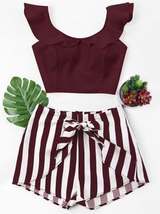 Ruffle Striped Shorts Two Piece Set – TopFashionova Trendy Outfits, Summer Outfits, Cute Outfits, Teen Fashion, Fashion Outfits, Two Piece Short Set, Two Piece Outfit, Striped Shorts, High Waisted Shorts