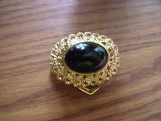 1984 PARK LANE Scarf Clip Gold Tone With Black Center Stone