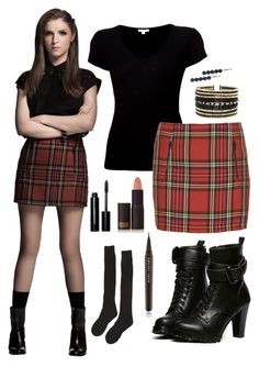 """""""get the look: beca mitchell"""" by rey-the-scavenger ❤ liked on Polyvore featuring James Perse, Topshop, Jane Tran, Samantha Holmes, WithChic, Bobbi Brown Cosmetics, Lipstick Queen, Marc Jacobs and Eloquii"""