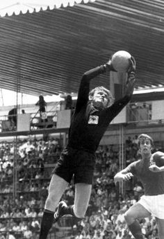 West Germany 3 England 2 in 1970 in Leon. Sepp Maier shows a safe pair of hands with Geoff Hurst coming in at the World Cup Quarter Final.