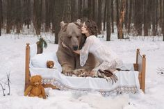 Only In Russia! Anti-Hunting Campaign Features Hot Models With One Huge Bear! - Explore like a Gipsy, Study like a Ninja