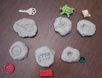 Fossil Matching - Use a self-hardening clay: I personally like Marblex Self-Hardening Clay, which is a natural air-dry clay. I get it at Hobby Lobby or a school supply catalog. Collect a set of objects and press each one into a piece of clay to make an impression. Let the clay dry completely and put the fossils in a container along with the objects. Children match the objects to the fossils.