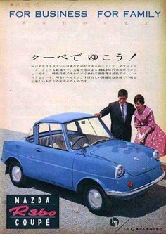 Auto Retro, Retro Ads, Classic Japanese Cars, Classic Cars, Retro Advertising, Vintage Advertisements, Kei Car, Pub Vintage, Mazda Cars