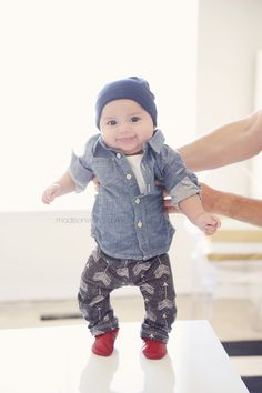 Love this outfit: Chambray shirt – Gap Beanie – Gap Leggings – Sugar Plum Lane Moccs – Pitter Patter Teether – Alexandra Rose Fashion Kids, Little Boy Fashion, Baby Boy Fashion, Little Man Style, Little Boys, Baby Style, Baby Kind, Baby Love, Baby Baby