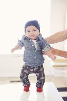 Love the leggings: Chambray shirt – Gap Beanie – Gap Leggings – Sugar Plum Lane Moccs – Pitter Patter Teether – Alexandra Rose