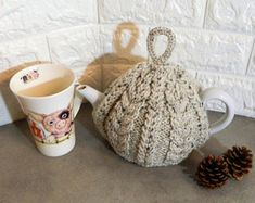 knitted tea cosy, knitted cozy, knitted cosies, Tea cosy, hand knit tea cosy, tea lover, tea lover gift, tea cozy, tea cosies, cable knit,