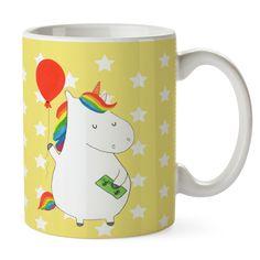 Tasse Einhorn Luftballon aus Keramik  Weiß - Das Original von Mr. & Mrs. Panda.  Eine wunderschöne spülmaschinenfeste Keramiktasse (bis zu 2000 Waschgänge!!!) aus dem Hause Mr. & Mrs. Panda, liebevoll verziert mit handentworfenen Sprüchen, Motiven und Zeichnungen. Unsere Tassen sind immer ein besonders liebevolles und einzigartiges Geschenk. Jede Tasse wird von Mrs. Panda entworfen und in liebevoller Arbeit in unserer Manufaktur in Norddeutschland gefertigt.     Über unser Motiv Einhorn…