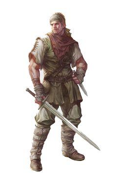 Male human brunette rogue thief assassin sword