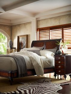 The Classic Portfolio British Colonial Sleigh Bedroom Collection by Stanley Furniture. Keith really likes sleigh beds, so. British Colonial Bedroom, British Colonial Style, West Indies Decor, Estilo Colonial, Stanley Furniture, Up House, The Design Files, Home Living, My New Room