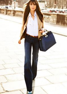 LOVE the COLORS - white buttondown, tan blazor, jeans, brown belt, with navy blue purse**** LOVE**