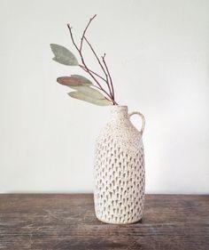 Ceramic vase home docor gift Handmade ceramic jug vase in speckled cream glaze