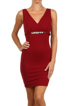fc7e9602 Sexy Sleeveless V Neck Deep Back Belted Bodycon Stretch Bandage Mini Club  Cocktail Dress