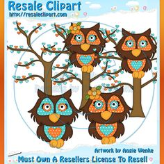 Love Owls Tangerine Color 2 Clipart Digital Download by MaddieZee, $1.50