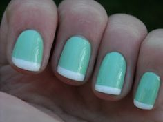 Tiffany french manicure- I already bought my bridal party the polish! Get Nails, Fancy Nails, Love Nails, How To Do Nails, Pretty Nails, Hair And Nails, Nails Polish, Nail Polish Designs, Nail Designs