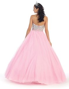 May Queen - Iridescent Rhinestone-encrusted Sweetheart Ball Gown LK43