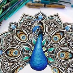 Mandala Peacock By /kellylahar/ - Check out for more amazing art Mandala Art, Mandala Drawing, Mandala Nature, Image Mandala, Mandala Feather, Peacock Drawing, Peacock Tattoo, Tattoo Feather, Peacock Sketch