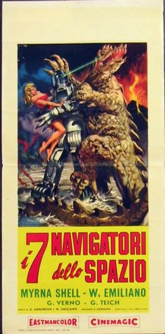 "Italian Movie Poster for the Soviet science fiction film ""Planeta Bur"" (1962), later re-cut by Curtis Harrington to create ""Voyage of the Prehistoric Planet"" (1965)."