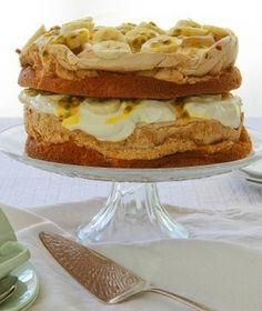 Banana and passionfruit meringue cake