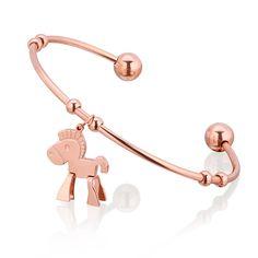 Bransoletka wykonana ze stali szlachetnej z uroczym konikiem. #bracelet #jewelry #jewellery #heart #sweet