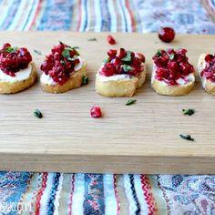 Pomegranate and Cranberry Bruschetta