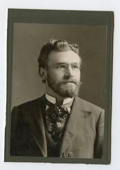 Cabinet Card Vintage Photo Handsome Man w Glasses Professor Type