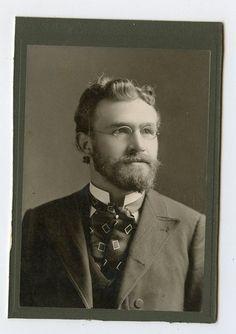 Cabinet Card Vintage Photo Handsome Man w Glasses Professor Type