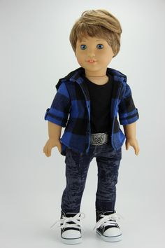 Handmade 18 inch doll clothes - Boy blue and black 4 piece flannel shirt outfit (416blue) by DolliciousClothes on Etsy
