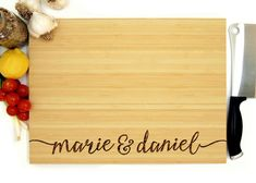 Wedding Gift Personalized Wedding Gift Custom Cutting Board Anniversary - Personalized Cutting Board This cutting can be personalized! In the notes section at checkout please leave me all your personal details in this format. First Names: (Blank Wedding Gifts For Bride And Groom, Custom Wedding Gifts, Personalized Wedding Gifts, Bride Gifts, Bff Gifts, Custom Cutting Boards, Engraved Cutting Board, Personalized Cutting Board, Wedding Trends