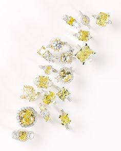 Yellow Diamond Rings. I think I prefer these to champagne diamonds, they sparkle more and appear brighter/clearer :)