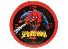 SPIDERMAN OROLOGIO MURO RAGNATELA  Orologio muro in plastica con rifiniture rosse con disegno all'interno di Spiderman con ragnatela regolabile da dietro, funziona con una batteria di tipo AA non inclusa
