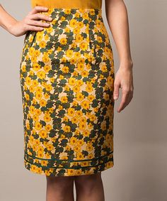 Look at this #zulilyfind! Yellow & Green Floral Pencil Skirt by Riverside #zulilyfinds