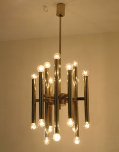 Modernist brass chandelier by Boulanger Sciolari by ICONICLIGHTS