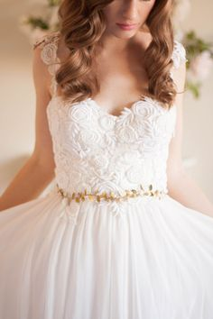 Delicate Leaf Sash Wedding Sash Bridal Belt Gold by AnnaMarguerite