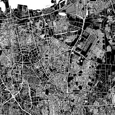 Jakarta, Indonesia, downtown vector map. Art print pattern. White streets, railways and water on black. Bigger bridges with outlines. This map will s... ... #map #downloadable #background #vector #design