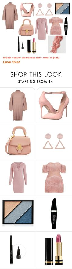 """""""For musicfreakofnature (friend) - musicfreakofnature's ideal wardrobe by me: Breast cancer awareness day - wear it pink!"""" by sarah-m-smith ❤ liked on Polyvore featuring River Island, ALDO, Burberry, Elizabeth Arden, Max Factor, Gucci and American Eagle Outfitters"""