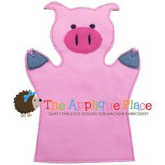 Pig Hand and Finger Puppet In The Hoop Machine by TheAppliquePlace,