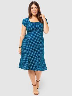 Natalie Dress In Navy Dots #fashion
