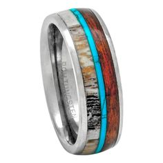 Tungsten Deer Antler Ring With Turquoise and Koa Wood Inlay, 8mm Comfort Fit Wedding Band Titanium Wedding Rings, Custom Wedding Rings, Wedding Jewelry, Hawaiian Wedding Rings, Deer Antler Ring, Ring Tattoos, Tungsten Carbide Rings, Wood Rings, Unique Rings