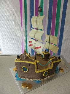 Custom Made Pirate Ship Cake by Village Sweets. Shiver me timber. Wedding Favors, Wedding Cakes, Pirate Ship Cakes, Dark Chocolate Frosting, Strawberries And Cream, Themed Cakes, Cake Designs, Ropes, Strawberry