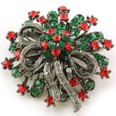 Antique Vintage Design Christmas Wreath Flower Brooch Pin for Pendant Necklace Red Green Crystals Christmas Jewelry