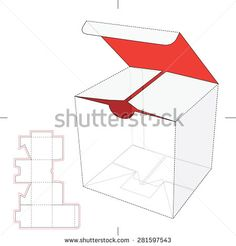 Cube Box With Die-Cut Layout  Stock Vector Illustration 281597543 : Shutterstock