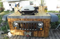 upcycle jeep parts into a bbq grill stand, diy, outdoor living, pallet, repurposing upcycling Jeep Grill, Bbq Grill, Grill Stand, Car Parts Decor, Car Part Furniture, Garage Furniture, Furniture Design, Automotive Decor, Automotive Furniture